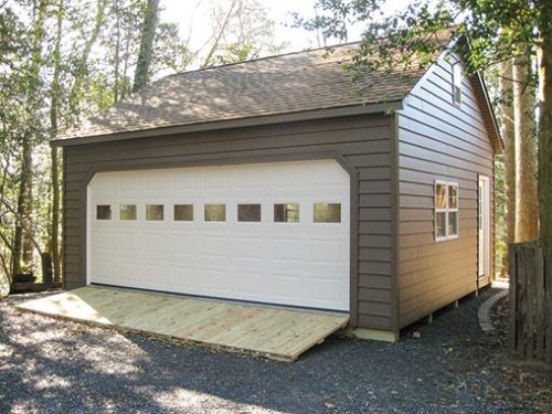 two car garage with one large white door