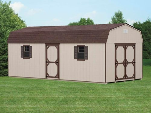 tan dutch barn shed with brown shingles