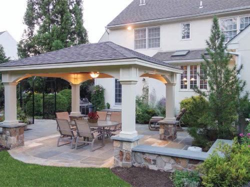 backyard vinyl pavilion with overhead light