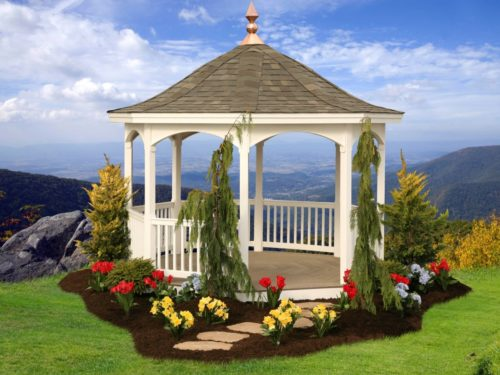 vinyl gazebo overlooking mountains