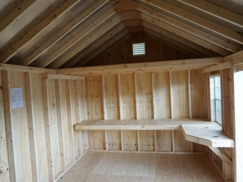 amish built classic cottage garage interior view