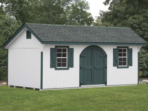 classic quaker shed sitting in front of trees in backyard