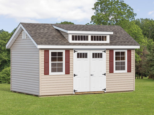 classic studio dormer shed with white doors