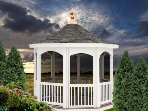 vinyl gazebo surrounded by shrubberies