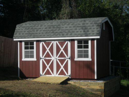 maroon classic dutch barn storage shed