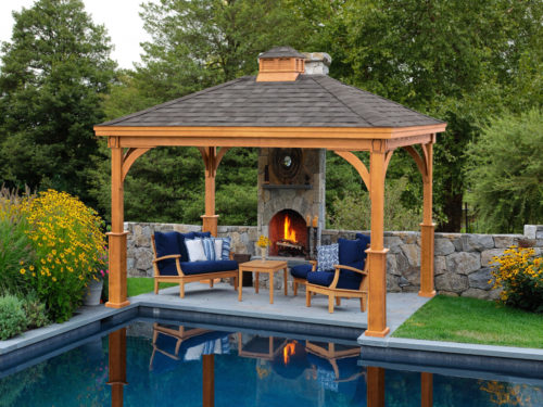 backyard wood pavilion next to swimming pool