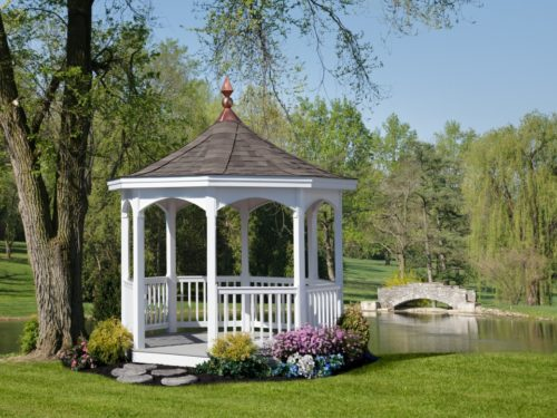vinyl gazebo overlooking pond