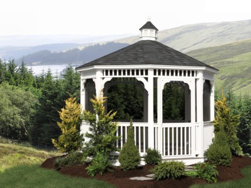 vinyl gazebo overlooking lake