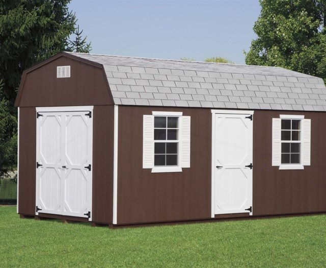brown dutch barn shed with white double doors