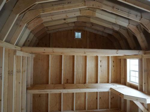 interior of single story dutch barn garage