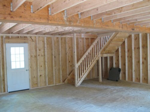 first floor interior of two story dutch barn shed