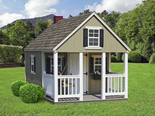 green a frame playhouse with white porch posts