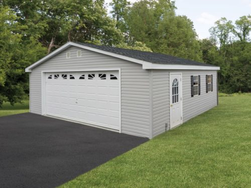 grey two car garage with large white door