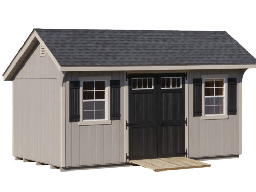 grey classic quaker shed with black doors