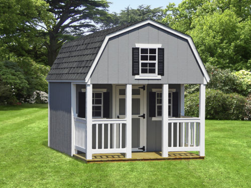 grey dutch playhouse sitting in backyard