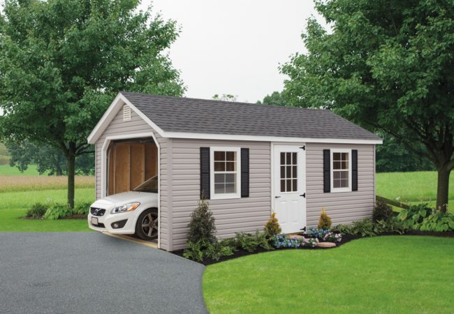 khaki classic cottage garage with white car inside