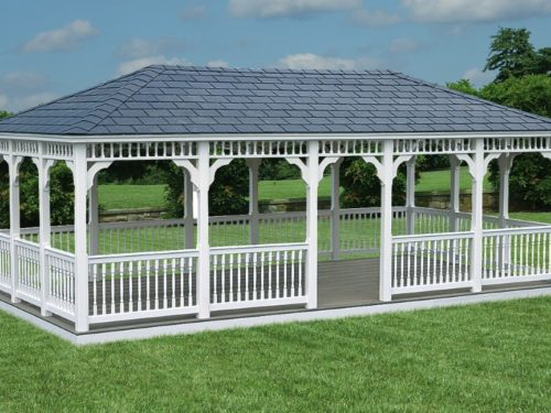 large amish built vinyl gazebo in backyard