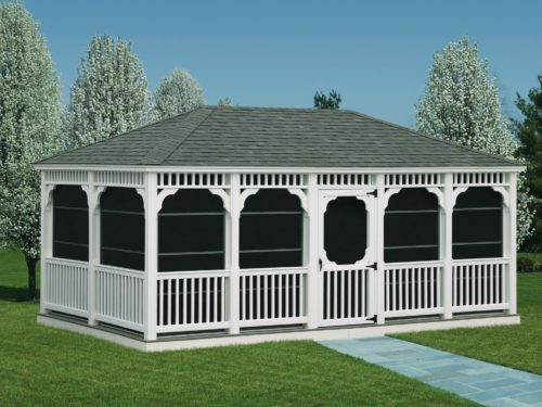 large vinyl gazebo with screens