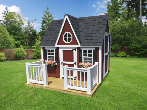 maroon victorian playhouse with vinyl handrails and pickets