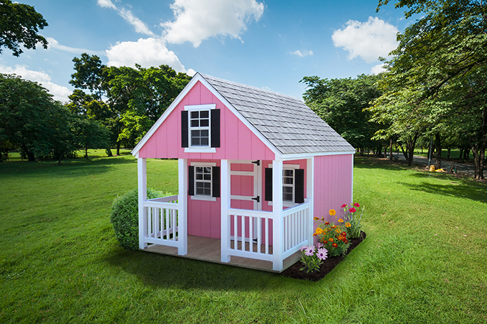 pink a frame playhouse sitting in backyard
