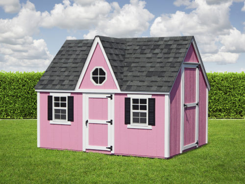 pink victorian playhouse with asphalt shingle roof
