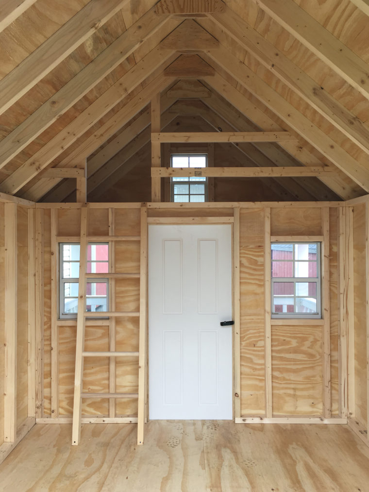 playhouse interior with white door