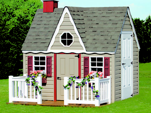 victorian playhouse sitting in backyard