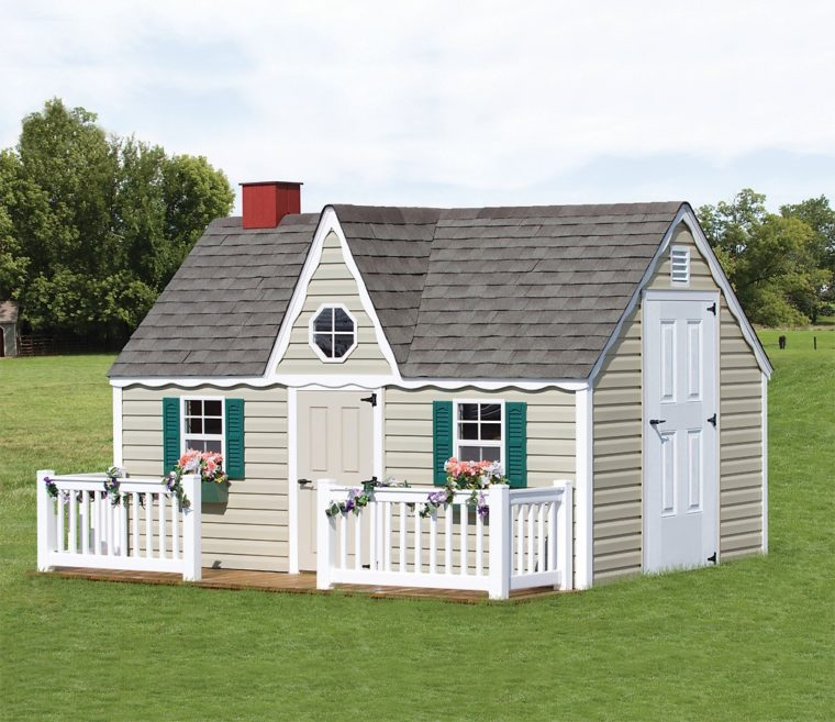 victorian playhouse with vinyl fence and white side door