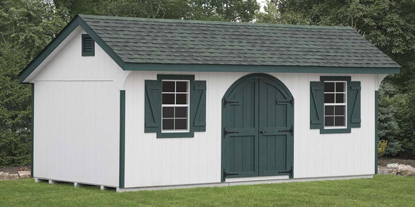 quaker shed with green double doors