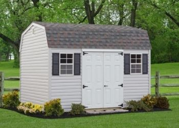 man cave shed with white doors and shingle roof