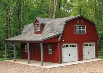 large red outdoor man cave shed